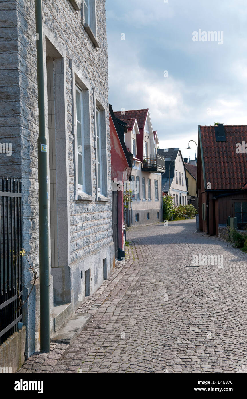 Vårdklockegatan street in Visby on the islnd of Gotland in Sweden - Stock Image