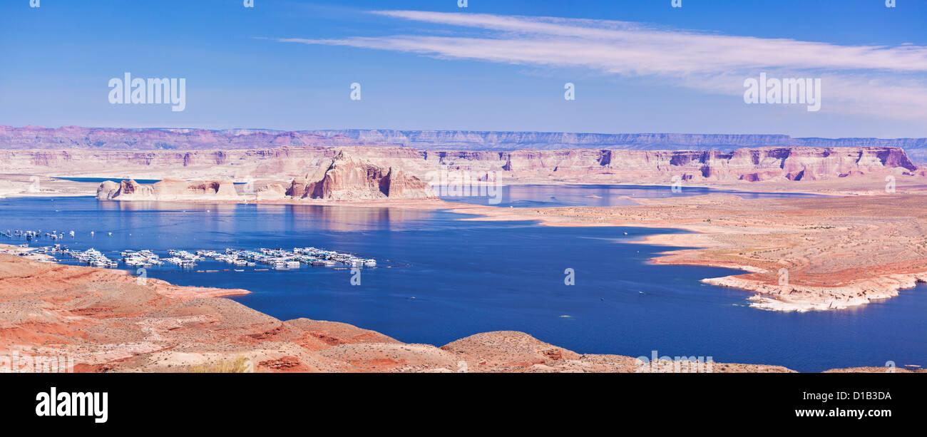 Wahweap Marina at Lake Powell near Page Arizona USA United States of America - Stock Image