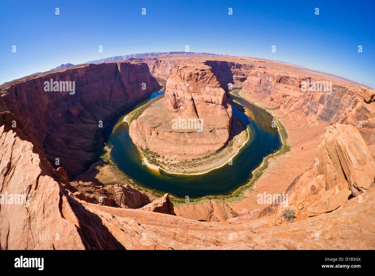 Horseshoe bend on the colorado river at Page Arizona USA  United States of America - Stock Image