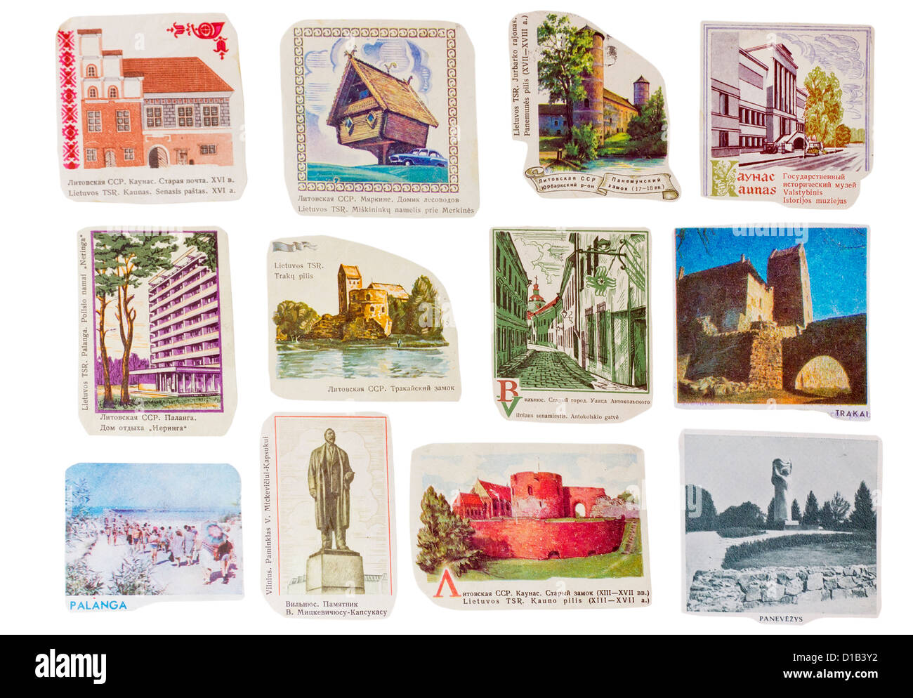 Ideological paper banners set collection of the totalitarian Soviet Union. Lithuanian republic cities . Images are - Stock Image