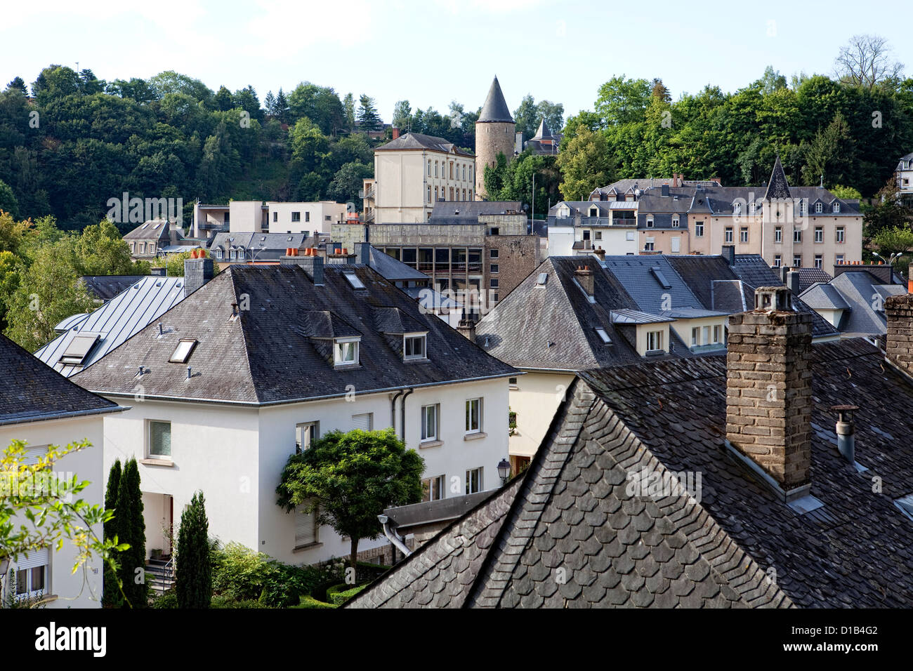 View from the Kirchberg-plateau, Luxembourg, Clausen, Europe - Stock Image