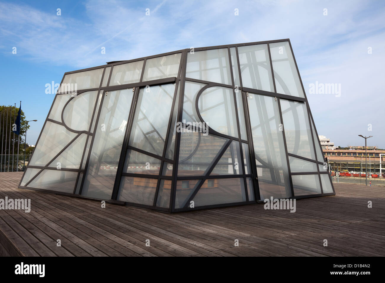 Artwork by Bert Theis, European Pentagon, Safe and Sorry Pavilion, Kirchberg, Luxembourg , Europe - Stock Image