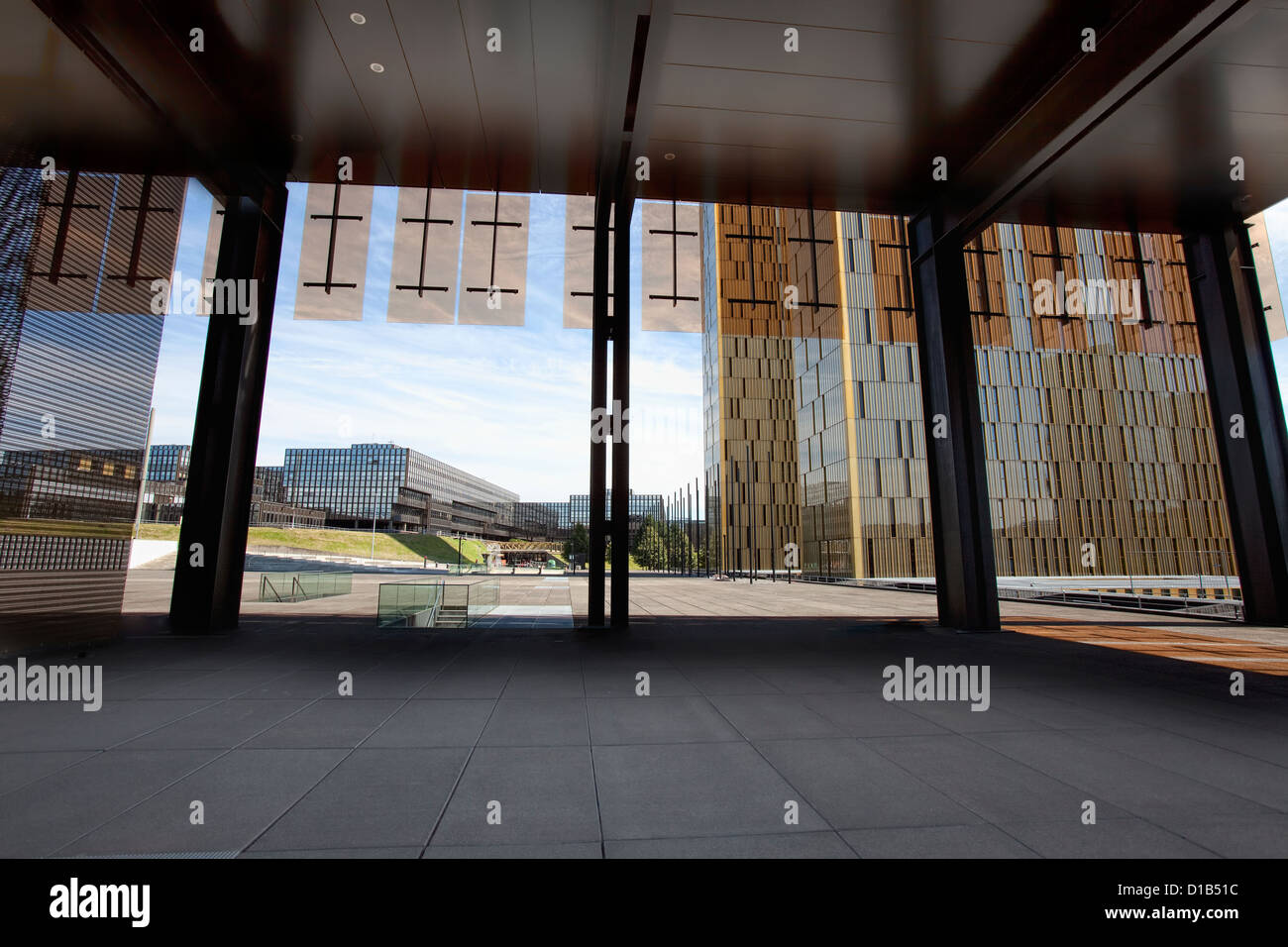 European Court of Justice, European Commission, Jean Monnet Building, Kirchberg Plateau, Luxembourg City, Europe - Stock Image