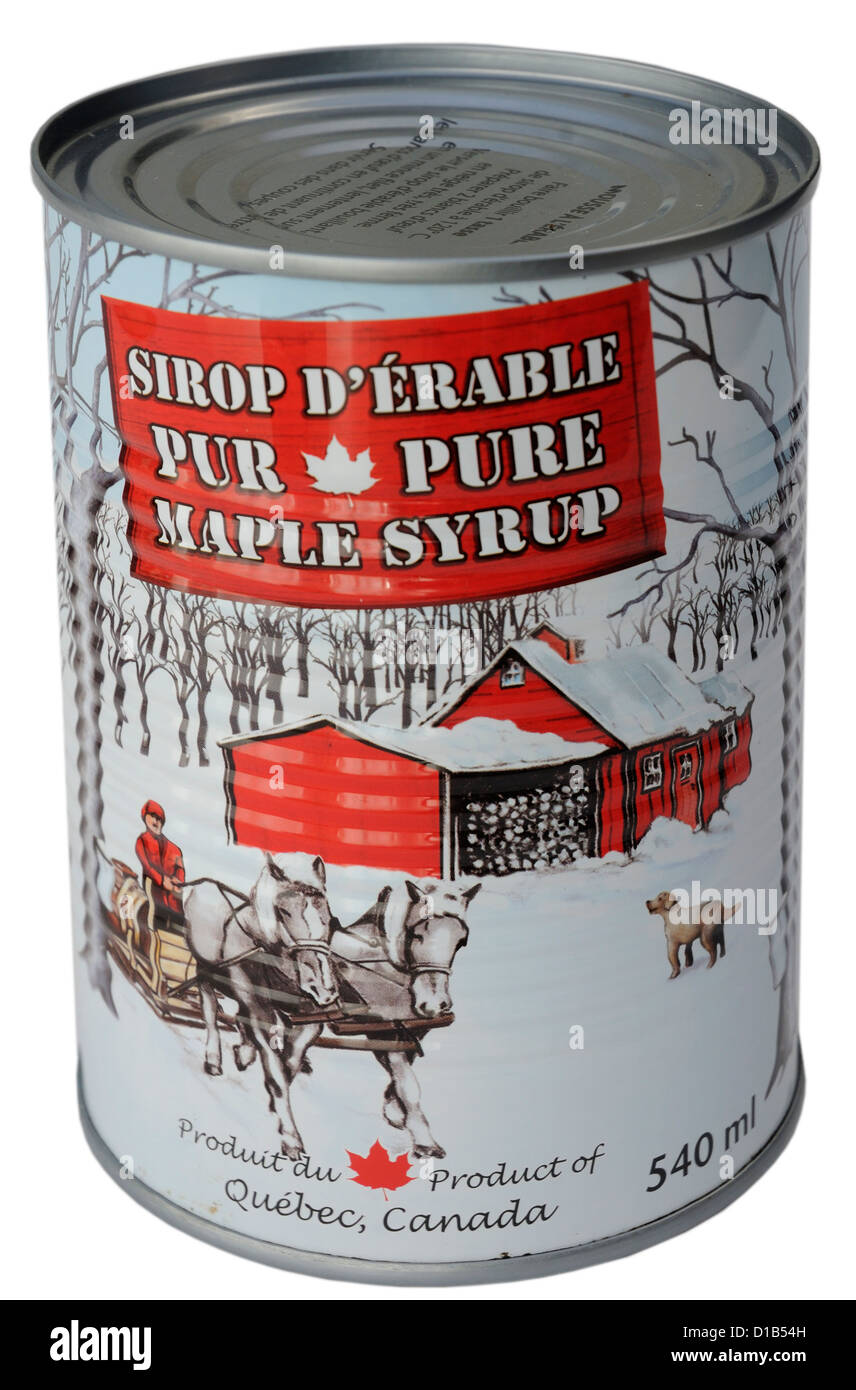 A tin of pure Canadian maple syrup - Stock Image