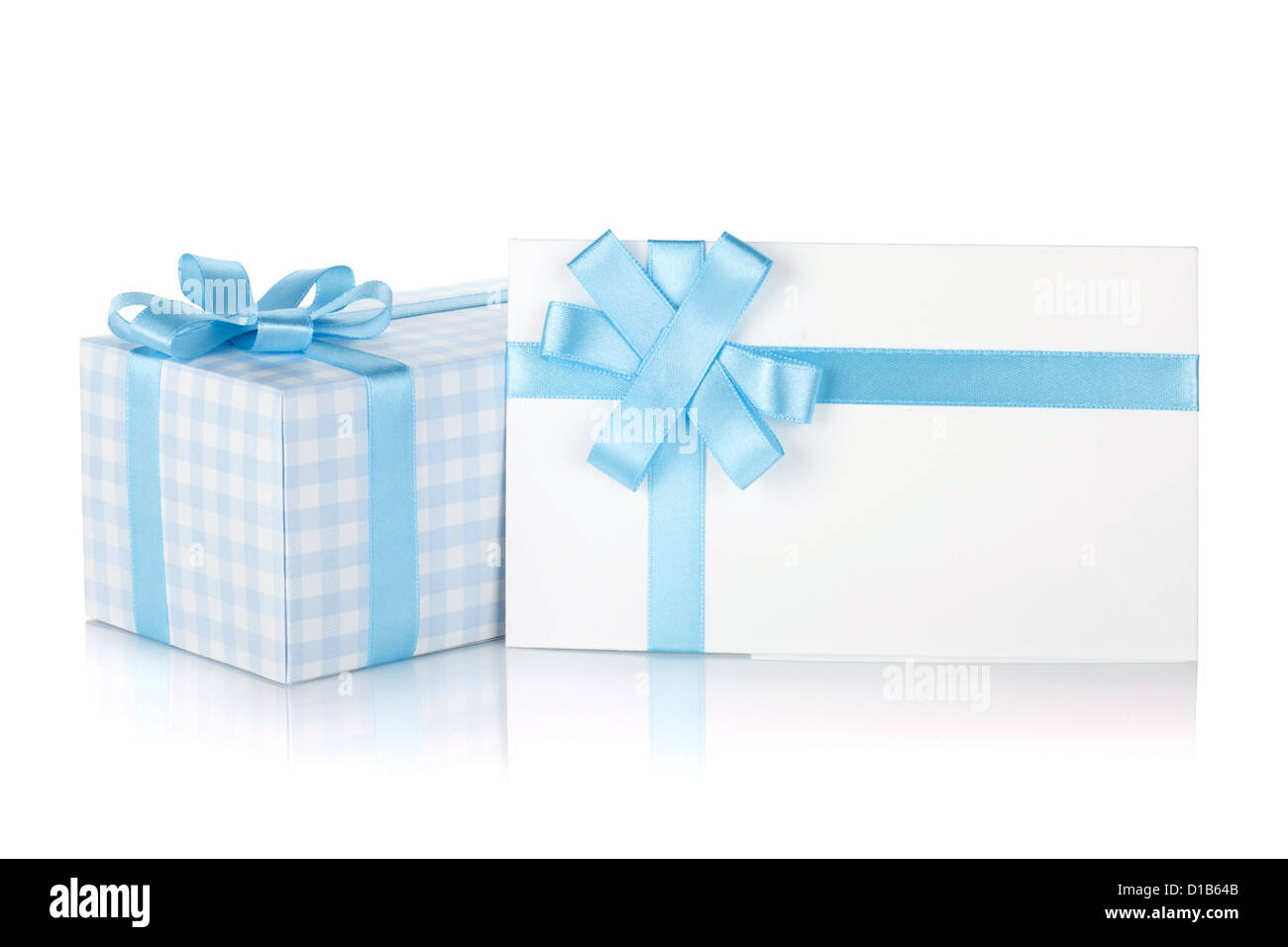 Gift box and letter with ribbon and bow. Isolated on white background Stock Photo