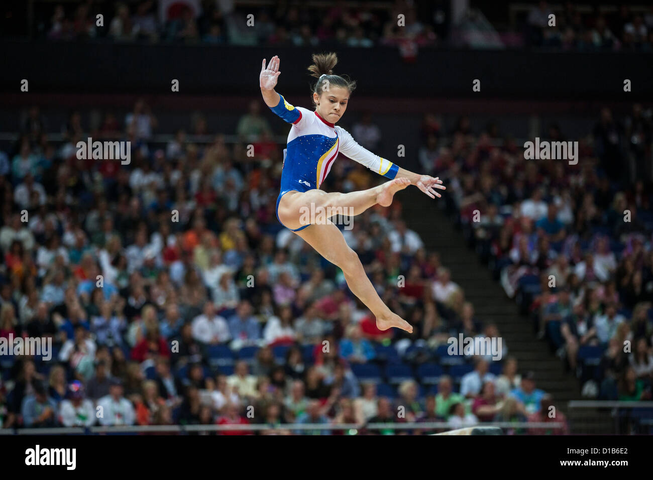 Diana Laura Bulimar (ROU) competes on the balance beam during the women's gymnastics team finals at the 2012 Olympic Stock Photo