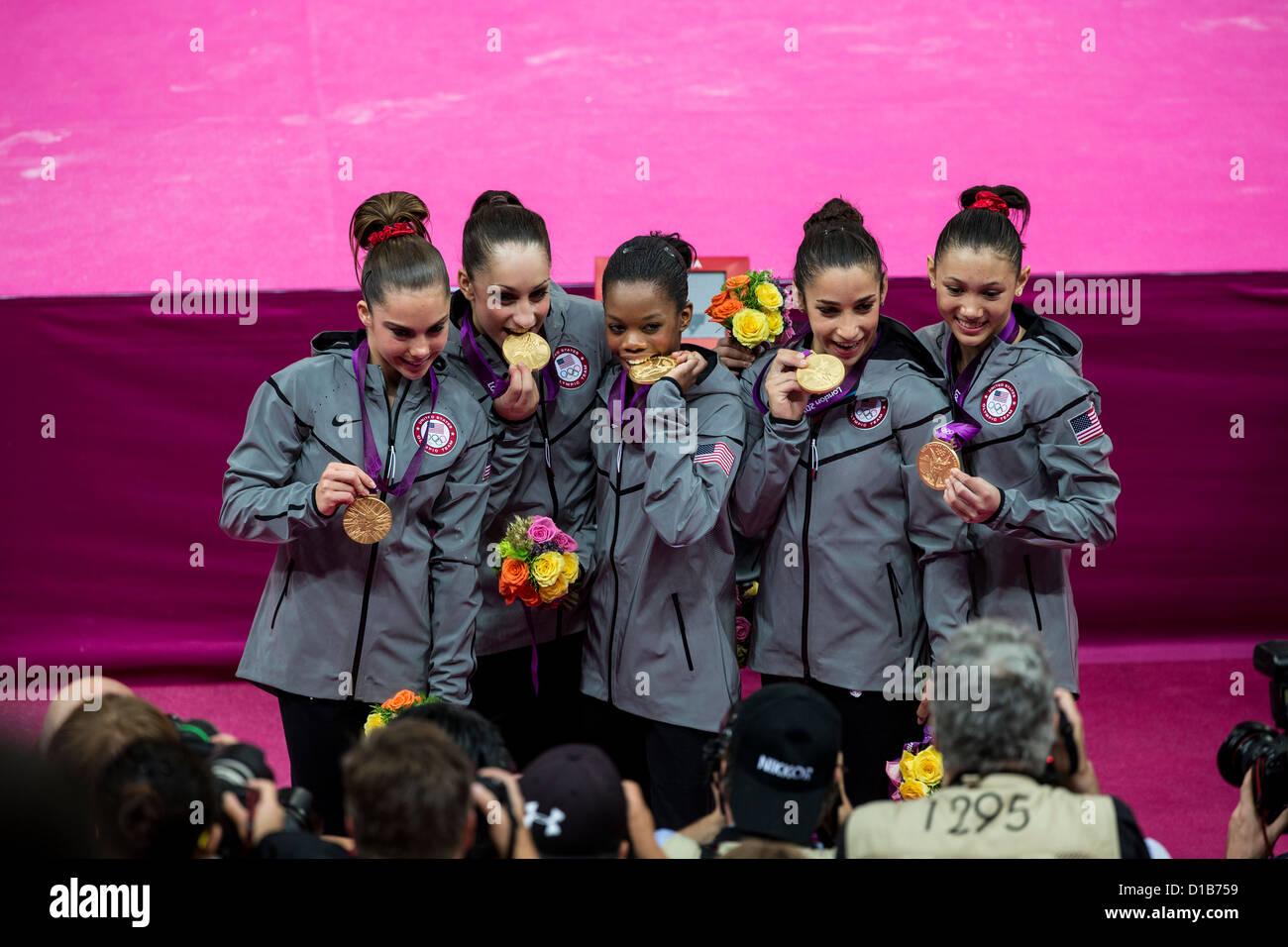 Team USA L-R McKayla Maroney, Jordyn Wieber, Gabrielle Douglas,, Alexandra Raisman, Kyla Ross gold medalist in the - Stock Image