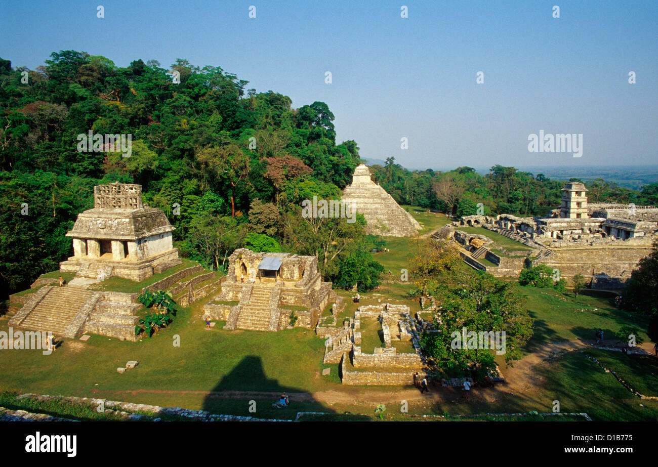 General view of Palenque Archaeological Site, Palenque, Chiapas State, Mexico - Stock Image