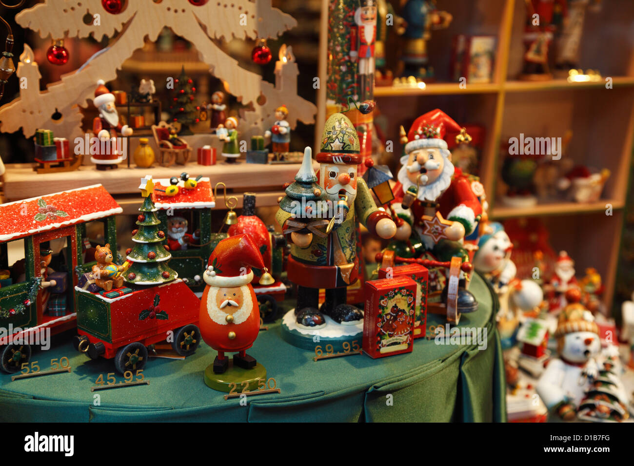 Christmas Toys And Decorations In A Store Window Display In Bruges, Belgium