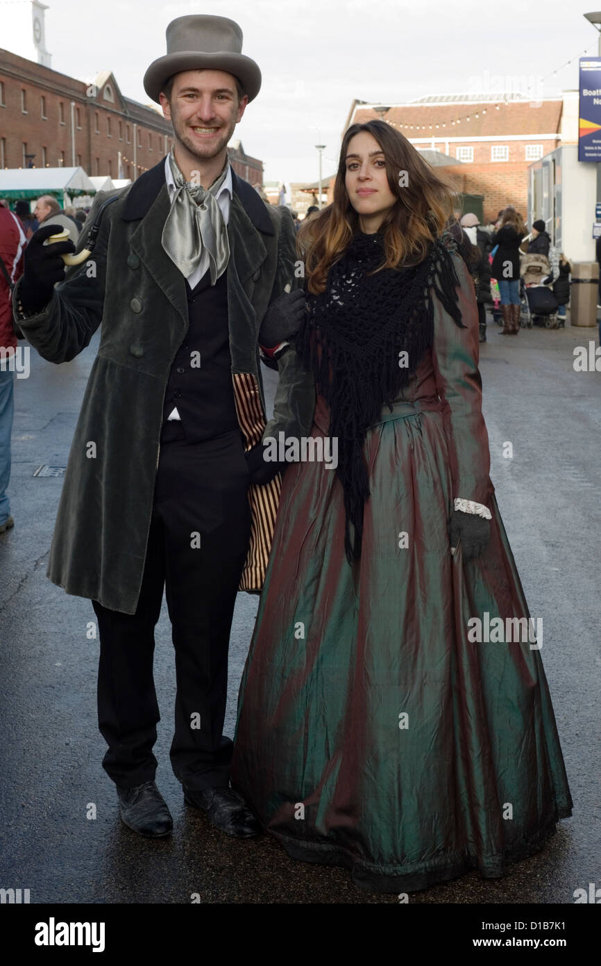 Man And Woman In Traditional Period Clothing At The Victorian Festival Of Christmas Portsmouth