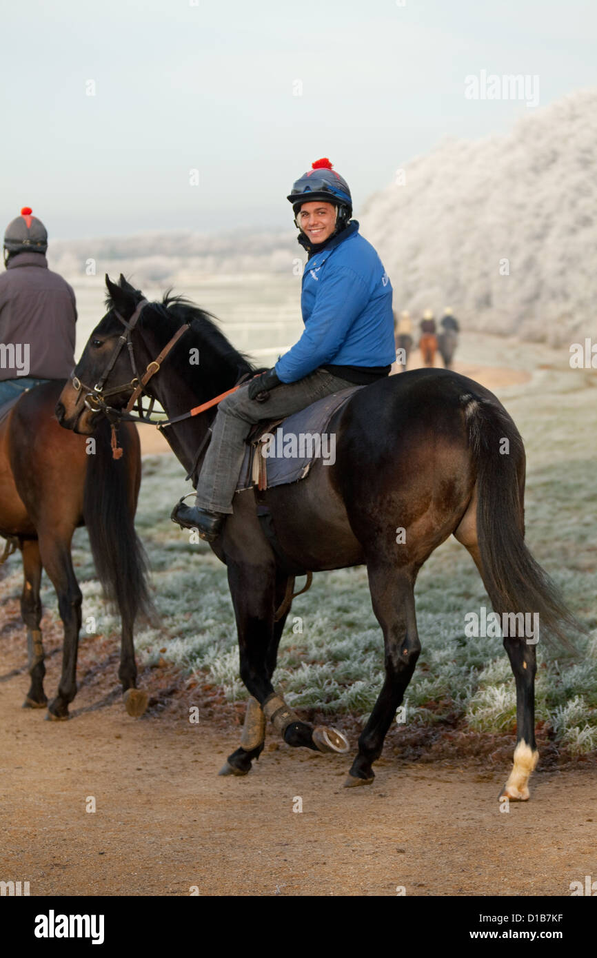 A jockey and his horse on a frosty winter morning, Newmarket, Suffolk UK - Stock Image