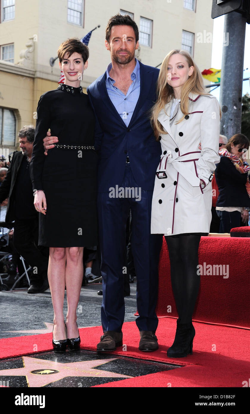 Hollywood, USA. 13th December 2012. Actor Hugh Jackman pictured with Anne Hathaway and  Amanda Seyfried is honored - Stock Image