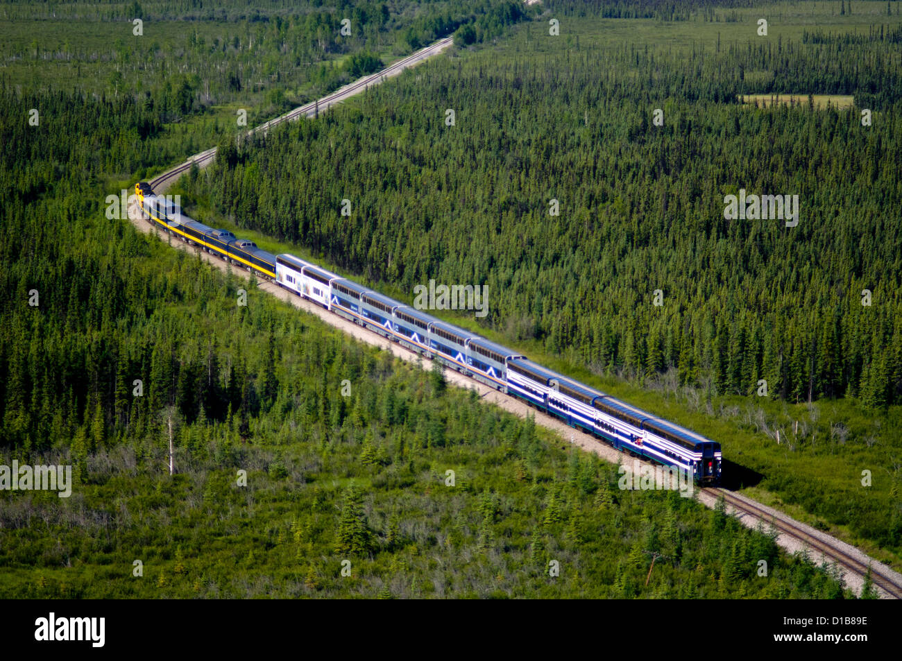 Aerial photo of the Alaska Railroad southbound train from Fairbanks through Denali to Anchorage. - Stock Image