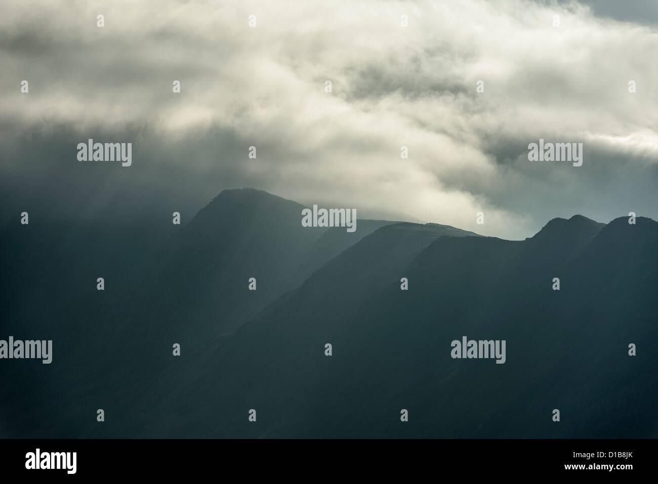 Atmospheric hills in Snowdonia Stock Photo