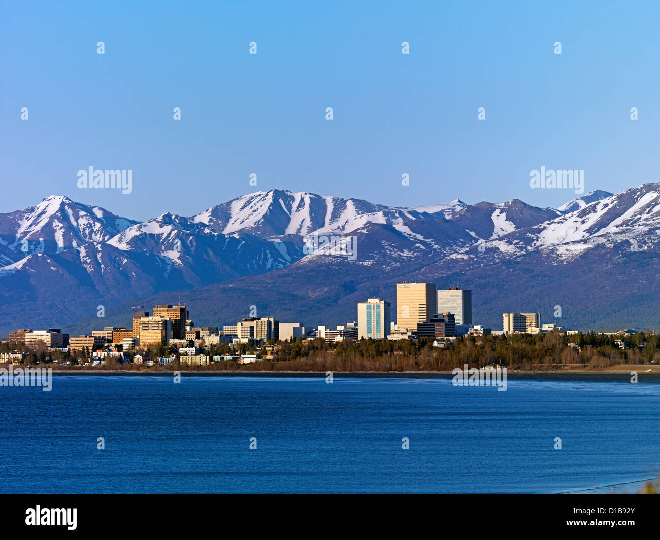 Anchorage Alaska, the largest city in the state - Stock Image