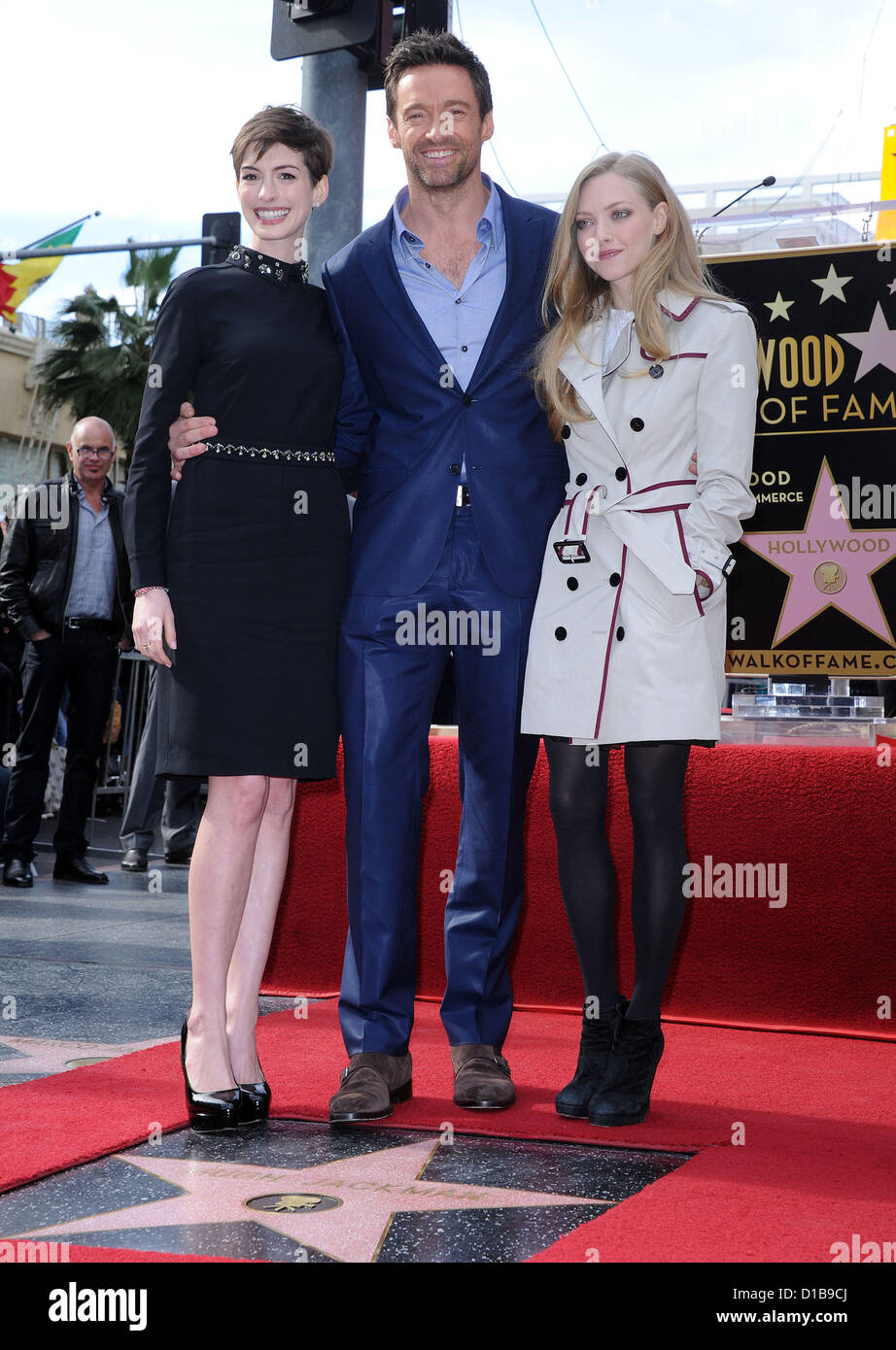 Dec. 12, 2012 - Hollywood, California, U.S. - Anne Hathaway, Hugh Jackman & Amanda Seyfried arrives for Walk - Stock Image