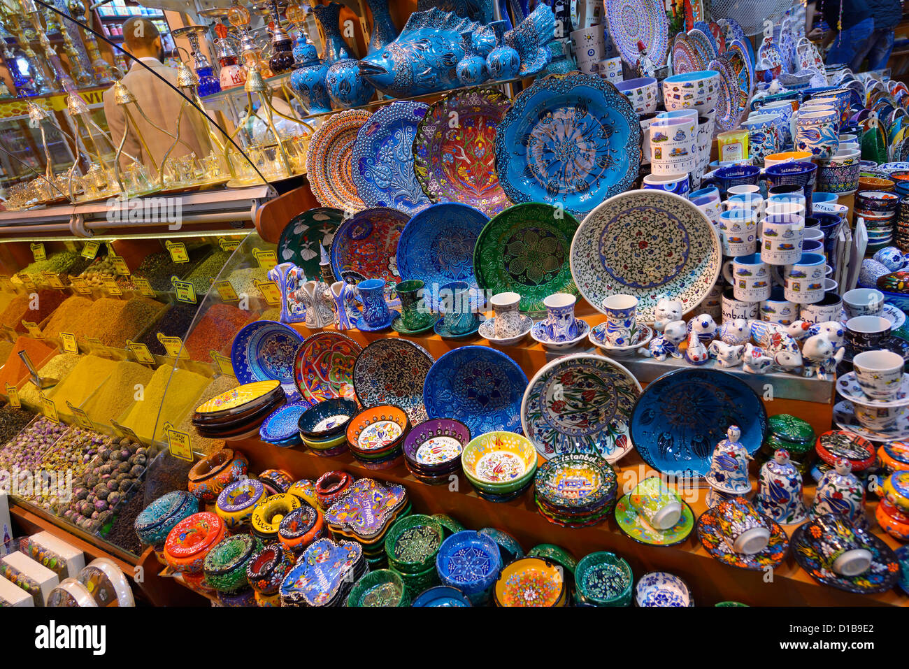 Painted ceramic display in the Egyptian Bazaar Istanbul next to a spice shop Eminonu Fatih Turkey - Stock Image