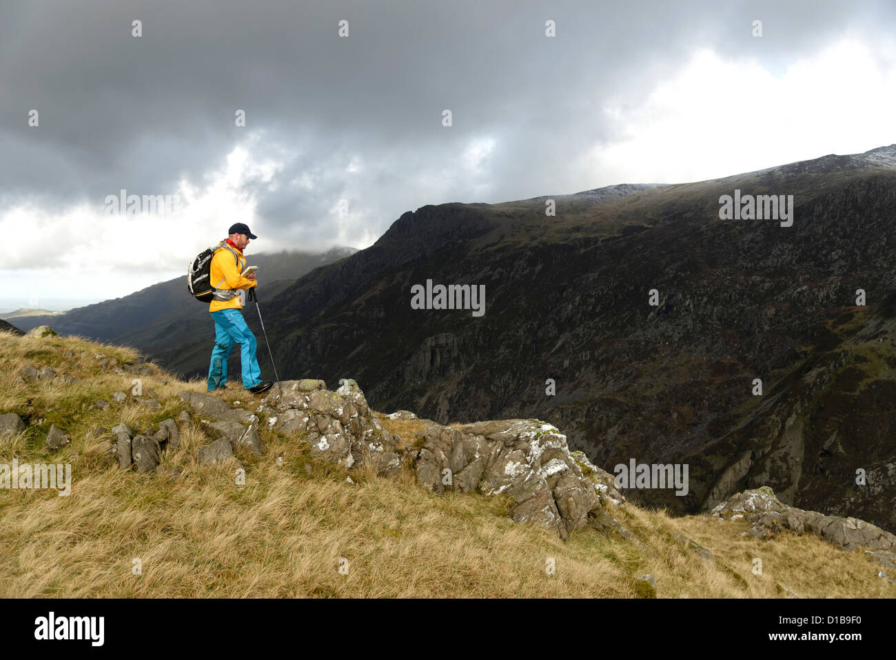 A hillwalker in Snowdonia - Stock Image