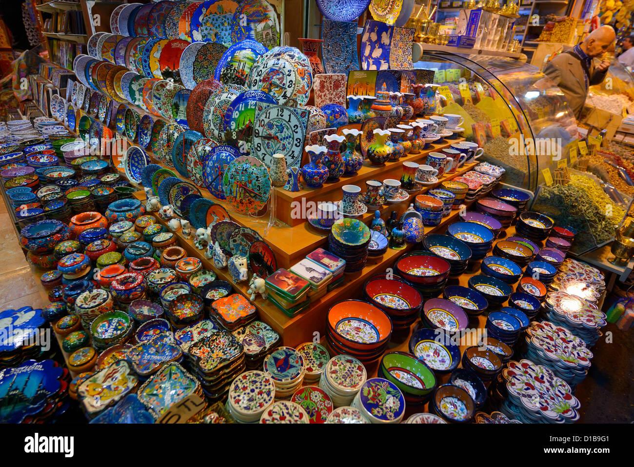 Ceramic display in the Egyptian Bazaar Istanbul next to a spice shop Eminonu Fatih Turkey - Stock Image