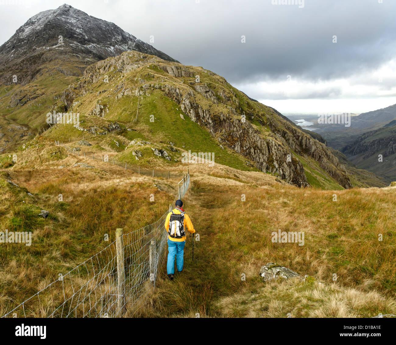 A hillwalker in Snowdonia Stock Photo