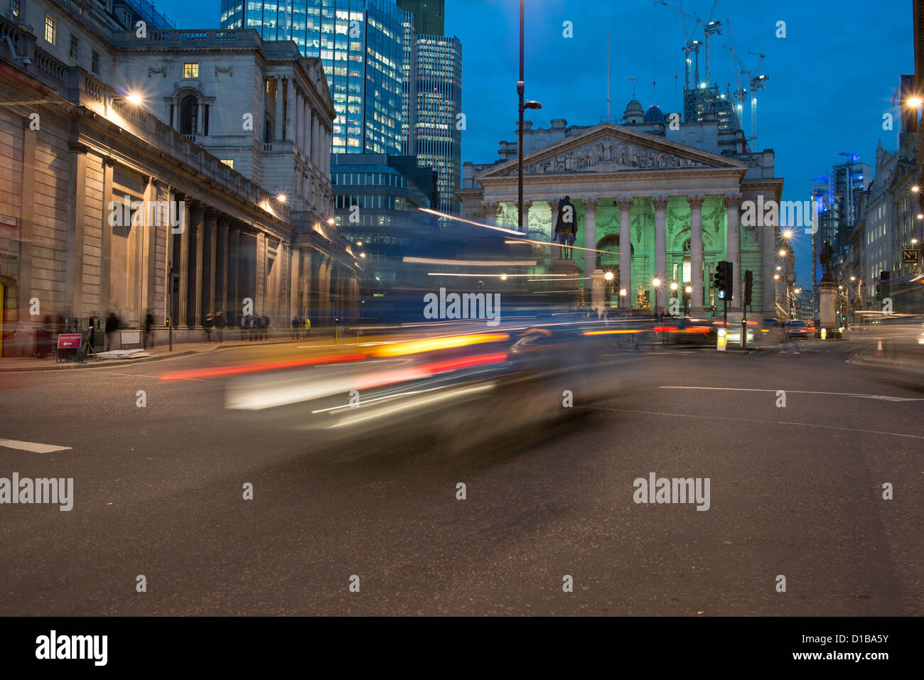 Bank Junction at night with the Royal Exchange ,City of London,England - Stock Image