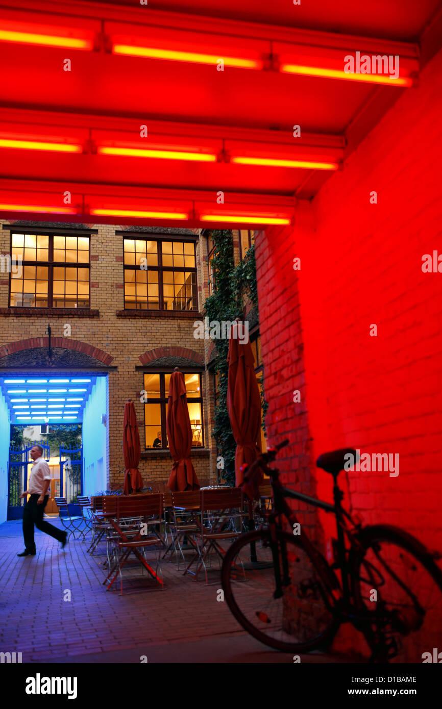 Berlin, Germany, illuminated color Hofdurchgaenge the Sophie-Gips-Hoefe - Stock Image