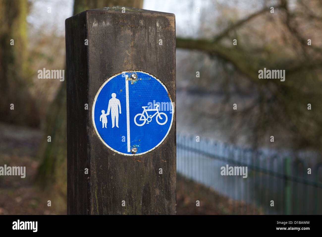 Pedestrian and Cyclist sign for paths in public parks Solihull - Stock Image