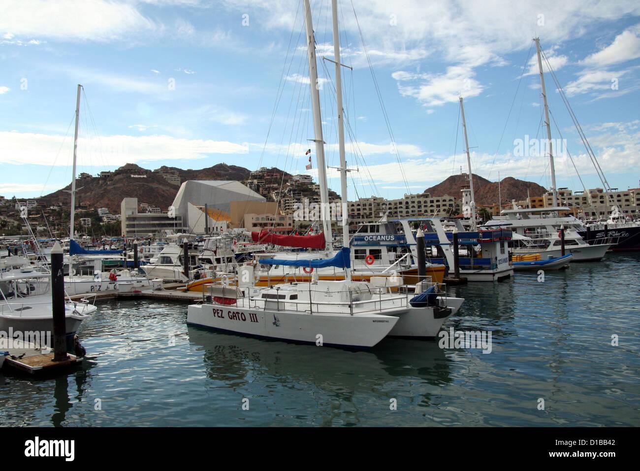Boats and yachts at Cabo San Lucas Marina Stock Photo