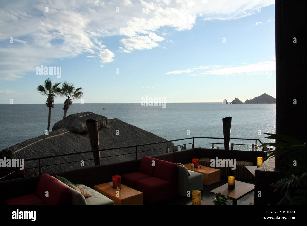 Sunset Point Wine and Pizza Lounge, Mona Lisa hotel resort, across the bay from Land's End, Cabo San Lucas, Mexico Stock Photo