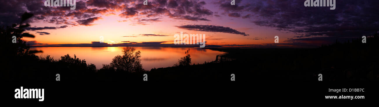 Sunset over Anchorage Alaska a panoramic view - Stock Image