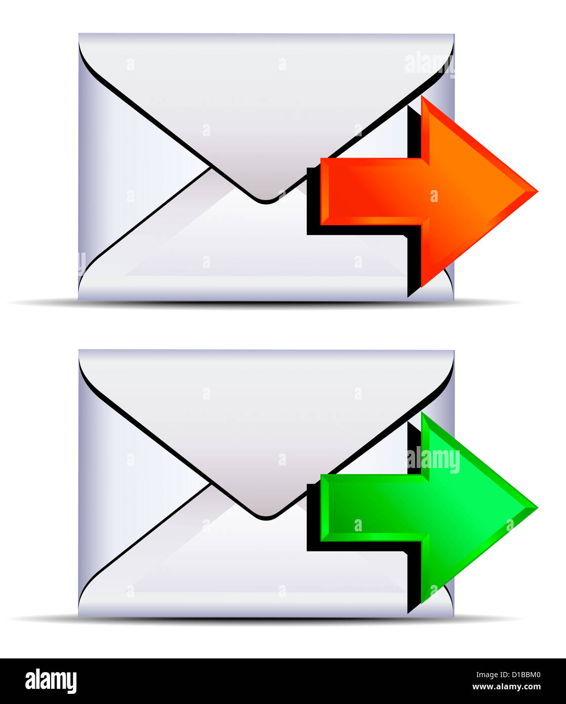 Contact email send icon - email sent with red and green arrows - Stock Image