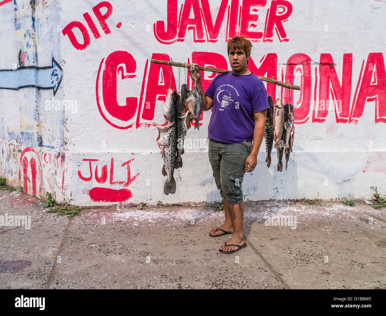 A young man stands on a street corner with fish for sale, hanging by strings from a pole that he balances on his Stock Photo