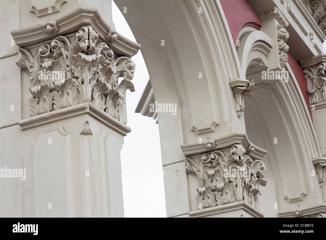 Renaissance Roman Architectural Column and Archway Historic Structure - Stock Image