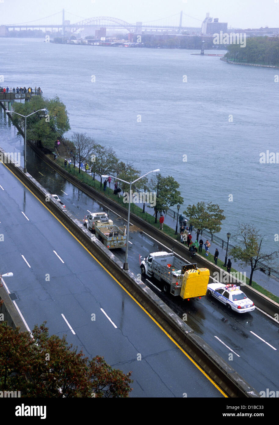 Aerial of Hurricane Damage to New York City Flooding on FDR Drive USA - Stock Image