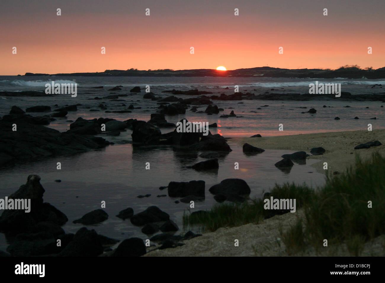 Sunset over rocky coast, Hawaii, USA Stock Photo