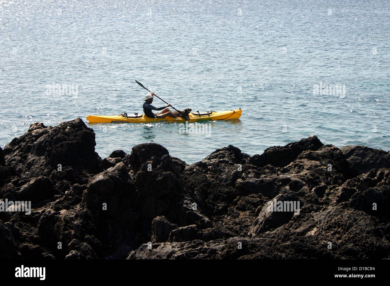 Lone person paddling in kayak off rocky coast of Hawaii, USA Stock Photo
