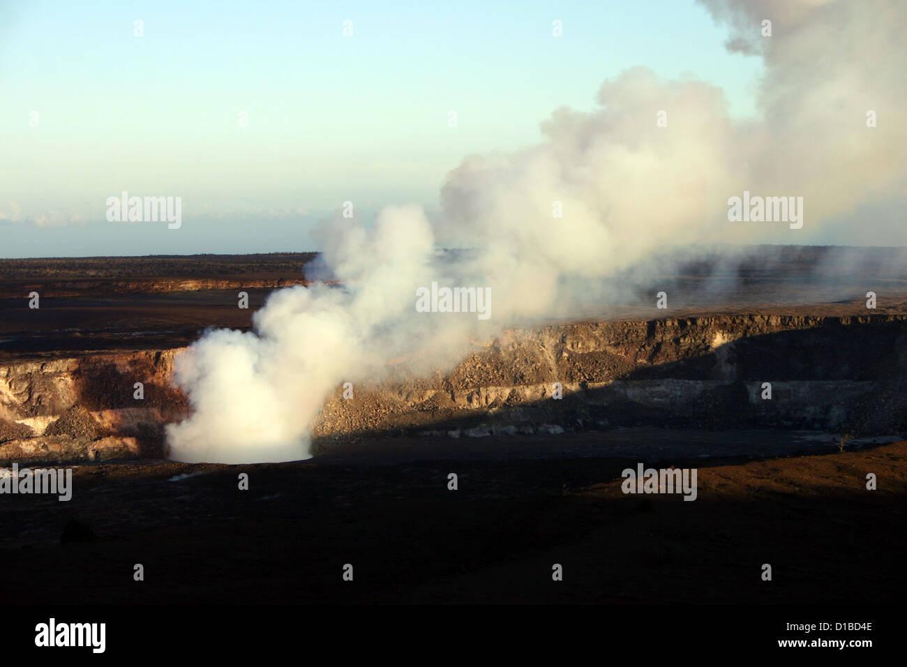 Kilauea crater steaming at Volcanoes National Park, Hawaii, USA - Stock Image