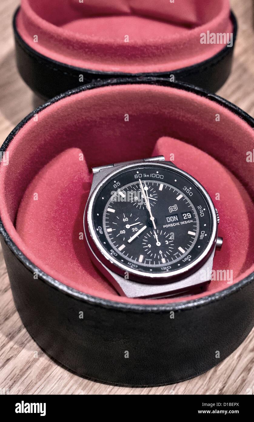 Vintage Porsche design chronograph watch 1978 - Stock Image
