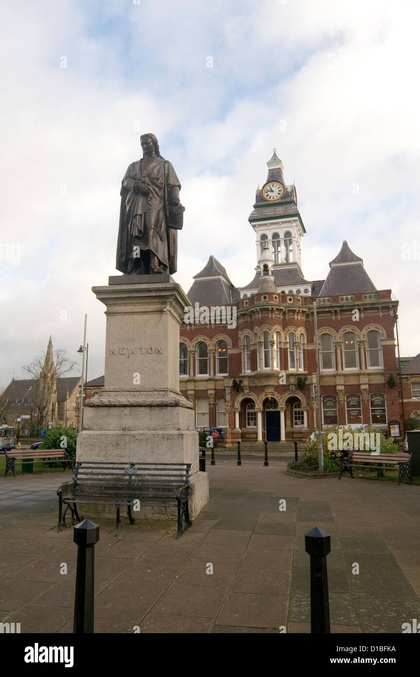 isaac newton statue in grantham uk town hall - Stock Image