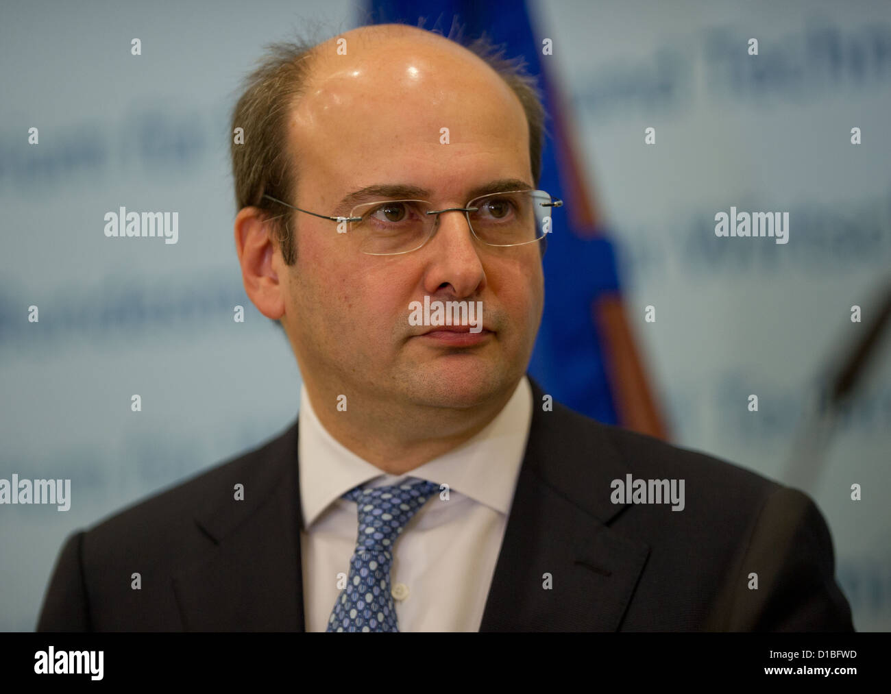 Greek Economy Minister Konstantinos Chatzidakis gives a press conference in Berlin, Germany, 13 December 2012. Photo: - Stock Image