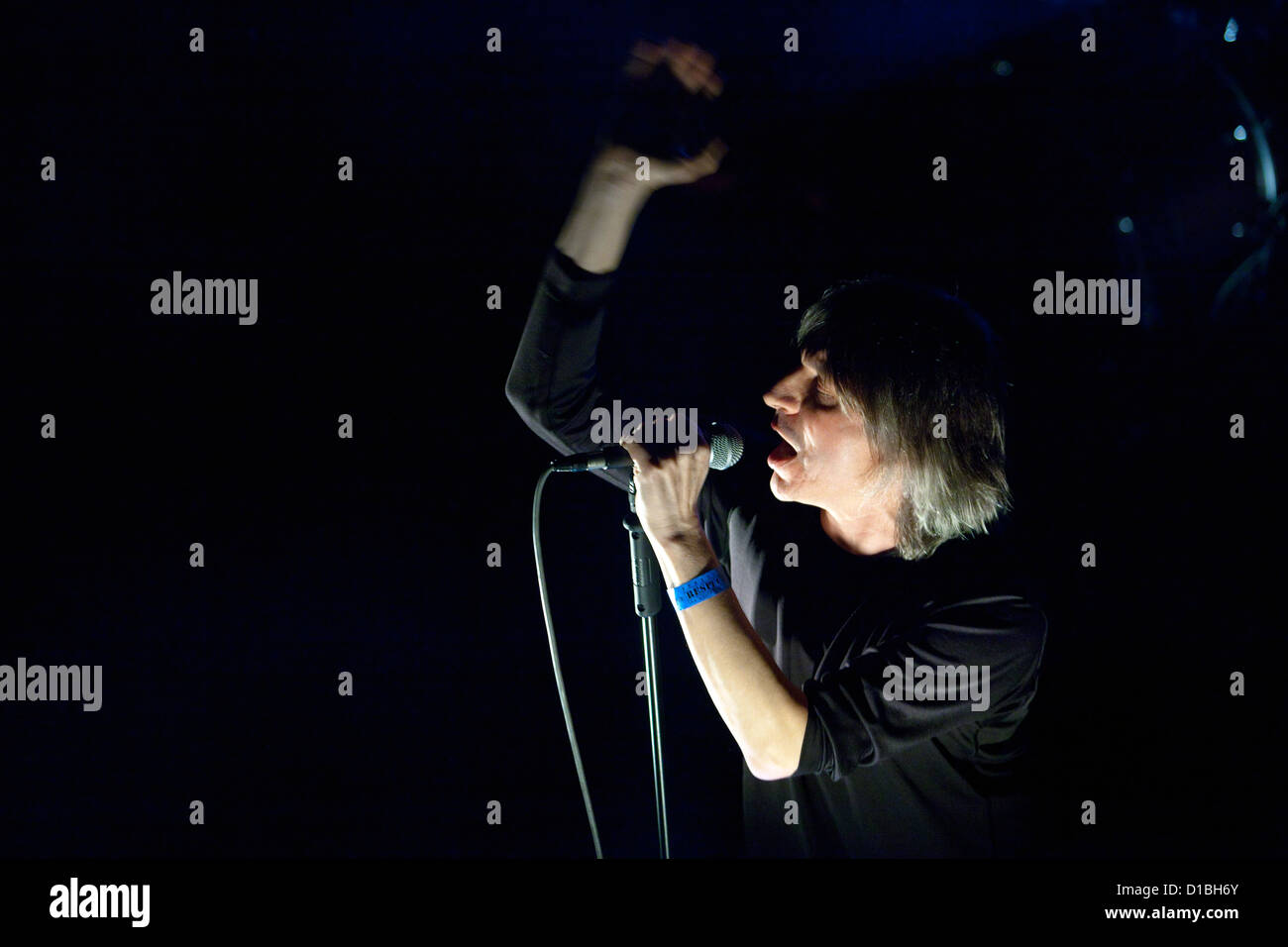 Singer Franz Treichler Swiss band Young Gods performs live in Palace Akropolis in Prague Czech Republic on December - Stock Image