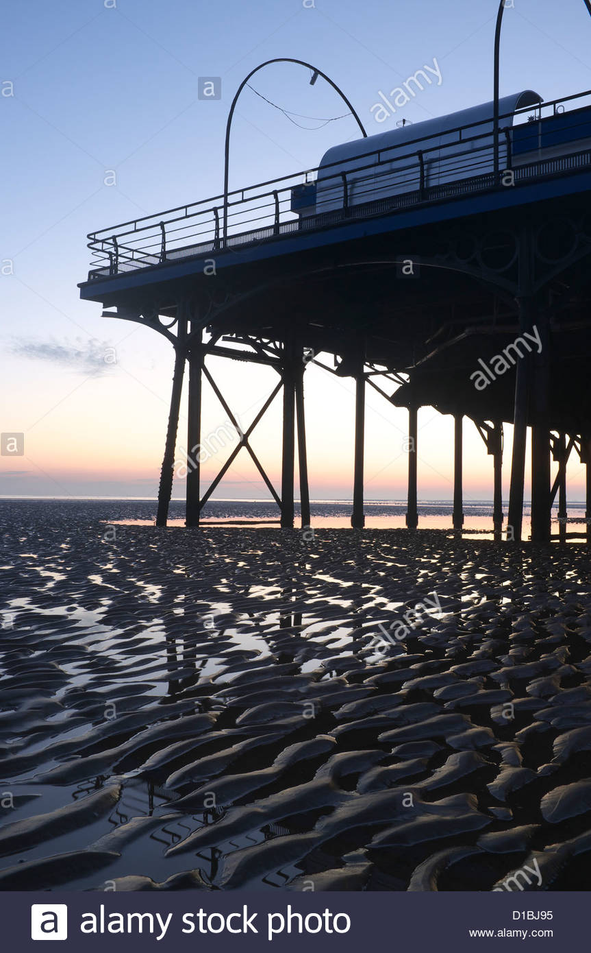 Cleethorpes pier at sunrise, Lincolnshire, UK. - Stock Image