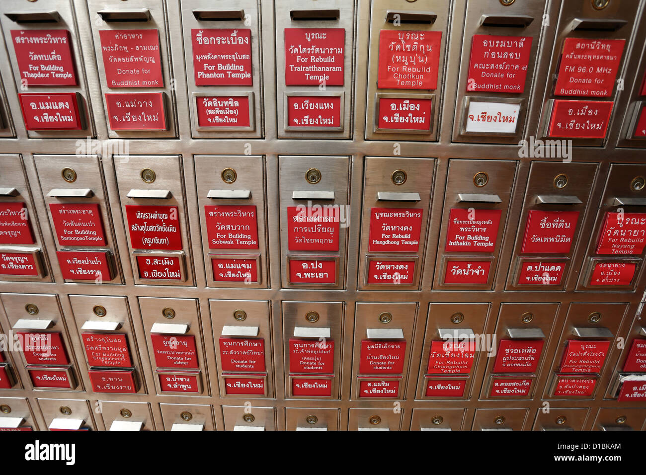 Donation boxes for donations at Wat Prathat Doi Suthep temple, Chiang Mai, Thailand - Stock Image