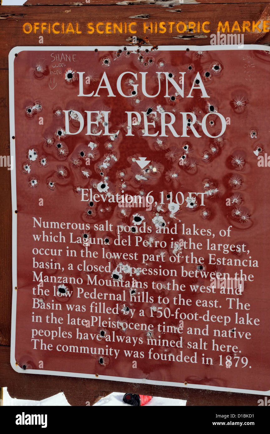 Scenic turnout information sign, with bullet holes, near Willard, New Mexico, USA - Stock Image
