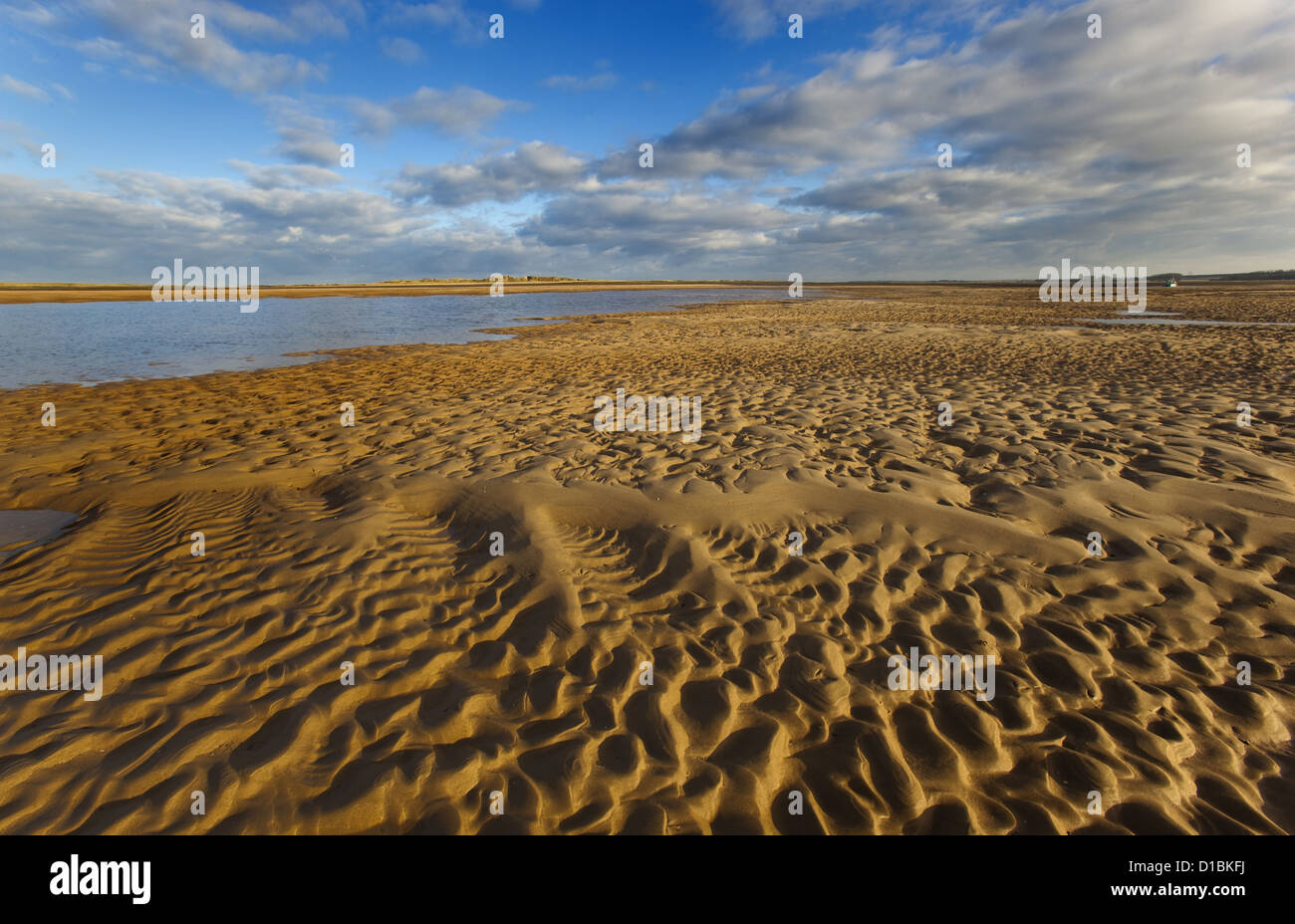 Brancaster beach sand patterns North Norfolk UK Winter - Stock Image