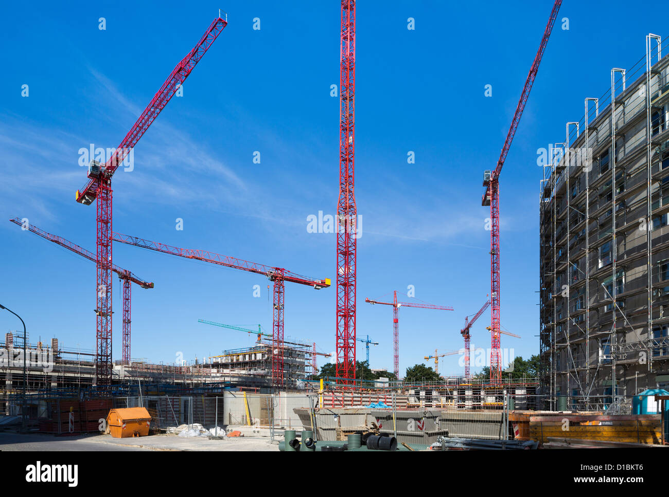 Cranes on a construction site - Stock Image