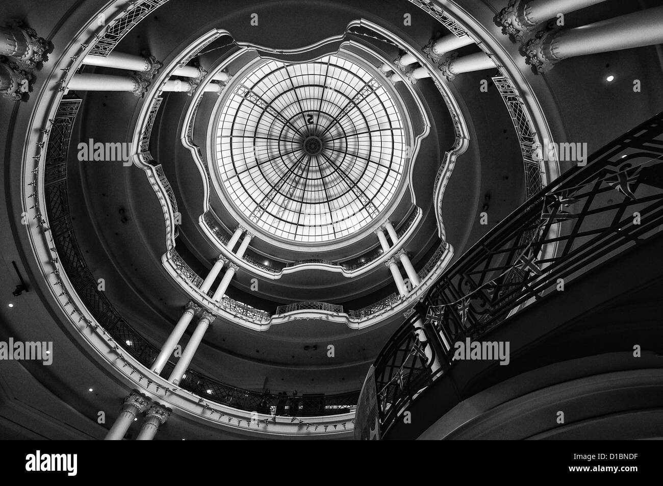 Central area and main staircase inside Whiteleys department store - Stock Image