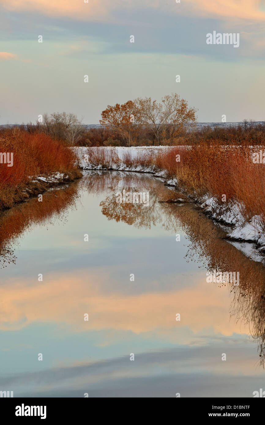 Sky reflections in a water diversion canal, Bosque del Apache National Wildlife Refuges New Mexico, USA Stock Photo
