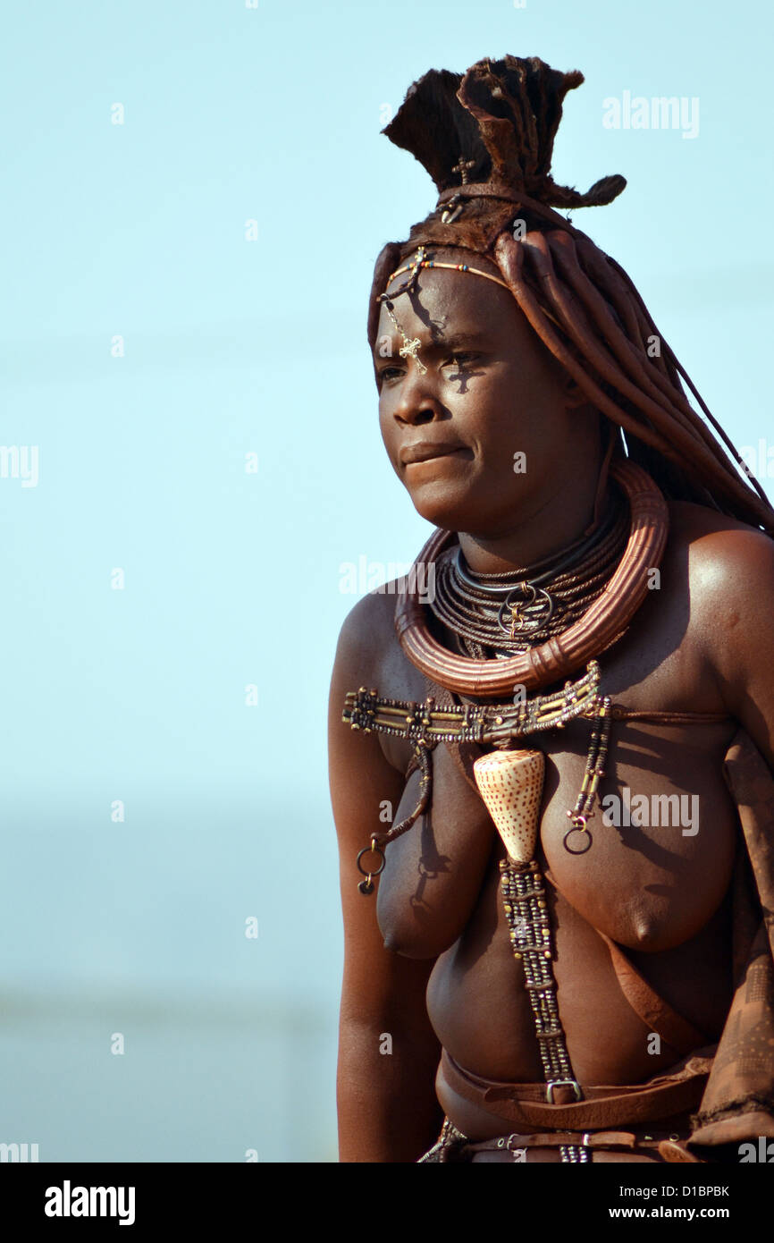 Taken in Opuwo, North Namibia. Subject is from the Himba Tribe. - Stock Image