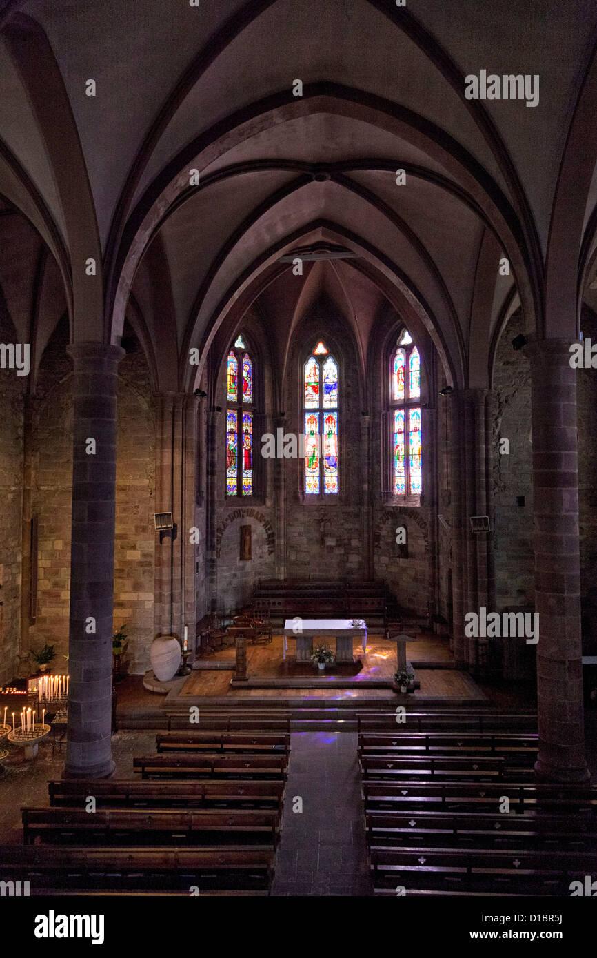 Eglise de Notre Dame, 14 century church, in St Jean Pied de Port, France. Stock Photo